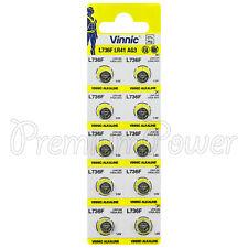 10 x Vinnic LR41 batteries L736F AG3 Alkaline Button cells 192 V3G 1.5V
