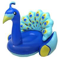 Swimline 90705 Inflatable Peacock Giant Swimming Pool Float with Backrest, Blue