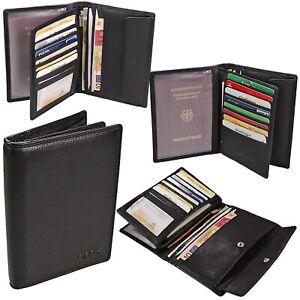 Herren Echt Leder Brieftasche große Geldbörse Reisepass Geldbeutel Kartenfächer