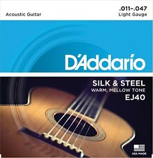 D'Addario EJ40 Silk Steel Acoustic Guitar Strings Folk 11-47