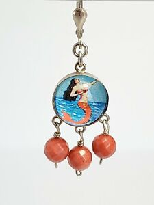 Vintage Sterling Silver 925 Mermaid Earrings With Red Coral Beads
