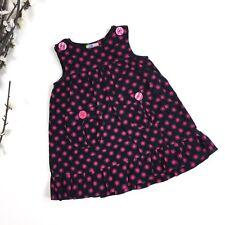 Al & Ray Toddlers Girls Size 2T Black Pink Polka Dot Corduroy Dress Sleeveless