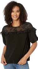 New With Tags - CeCe Bell Sleeve Lace Yoke Knit Top
