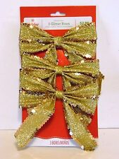3 Gold Sequin & Glitter Wired 5 Inch Bows Christmas CraftTree Package Decoration