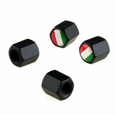 Car Wheel Tire Tyre Air Valve Stem Caps W/ Italian Flag Logo 4pcs Black