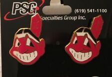 Cleveland Indians Chief Wahoo Logo Stud Earrings BANNED MLB LOGO