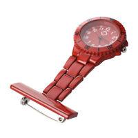 Red Quartz Movement Nurse Brooch Fob Tunic Pocket Pendant Watch F6Y2 I5K7