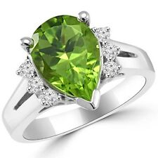 Pear-Shaped Green Peridot & Diamond 14k White Gold Engagement Bridal Ring