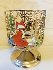 Bath Body Works Candle Pedestal Sleeve FOREST FRIENDS Deer Fox Bear Gold 3 Wick