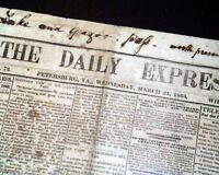 Rare CONFEDERATE Petersburg VA Virginia 1863 Original Civil War Newspaper