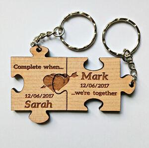 Personalised Keyrings Jigsaw Puzzle Wedding, Anniversary,Birthday,Valentine etc