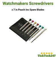 7 X WATCH MAKERS  SCREWDRIVER SET & SPARE BLADES IN A POUCH 0.8-2.0 REPAIR TOOL