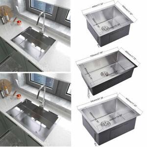 Stainless Steel Undermount Kitchen Sink Square Single Bowl & Drainer Waste Kit