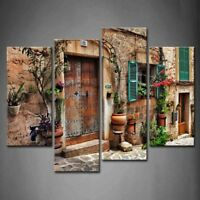 Framed Wall Art Decor Mediterranean Streets Canvas Print Architecture Pictures