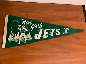 1969 New York Jets Vintage Pennant With Joe Namath