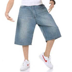 Mens Shorts Jeans Denim Shorts Relaxed Fit Plain Light Wash Plus Size 30-46W 13L