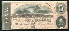 1864 $5 Five Dollars Csa Confederate States Of America Currency Note Unc