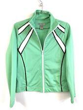 Vintage 80s Oleg Cassini Womens Track Jacket Green White  Zip Size S POLY