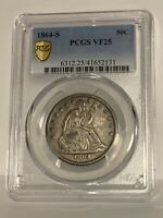 1864-S Liberty Seated Half Dollar  ** PCGS-VF25 **