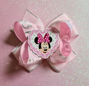"""4"""" Handmade Girls Minnie Mouse Pink Hair Bow Clip or Bobble"""