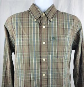 Timberland Mens L/S Button Down Shirt Large Army Green Plaid 100% Cotton Logo