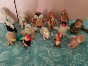 VINTAGE STEIFF SMALL STUFFED ANIMALS LOT (13)