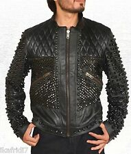 Men Stylish Metal Studs Biker Fashion Handmade Black Leather Jacket in all Sizes