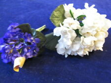 "Vtg Millinery Flower Collection Violets Purple Cream 7/8-1 1/4"" Dbl German Uh1"