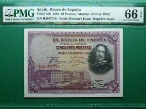 1928 SPAIN 50 PESETAS **MADRID**  PMG66 EPQ  <P-75b>GEM UNC