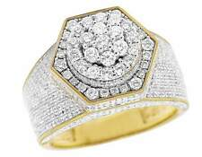 Men's 10K Yellow Gold Genuine Diamond 3D Hexagon Wedding Pinky Ring 3 Ct 14MM