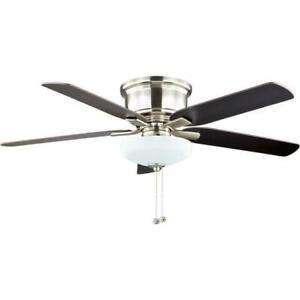 Hampton Bay Holly Springs Low Profile 52'' LED Indoor Brushed Nickel Ceiling fan
