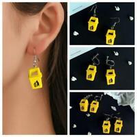 Creative Handmade Funny Yellow Trash Can Drop Earrings Dangle Ear Clip Jewelry