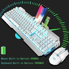 UK Wireless Rechargeable Gaming Keyboard + Mouse Set Sky Blue LED Backlit White