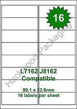 16 Labels per Sheet x 25 Sheets L7162 / J8162 White Matt Copier Inkjet Laser