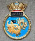 HMS SCYLLA Royal Navy Ship Metal Tampion Plaque Crest 6  X 5