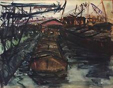 Revers Simone gouache encre aquarelle signée Bâle 1950 Suisse Les péniches Rhin