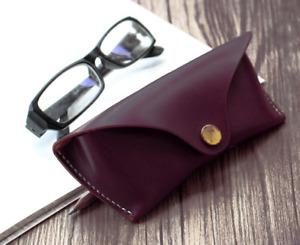 Men women Eyeglass Cases sunglasses Bag pocket Cow Leather Pouch hold purple 525