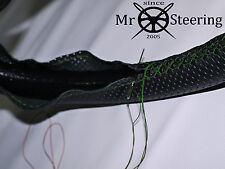 FOR 48-54 WOLSELEY 4/50 PERFORATED LEATHER STEERING WHEEL COVER GREEN DOUBLE STT