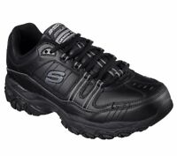 Black Skechers Shoes Men Memory Foam Sport Casual Comfort Leather Lace Up 50122