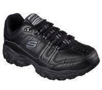 Skechers Shoes Men's Foam Sport Leather Lace Up 50122 EW 4E Wide Width Fit Black