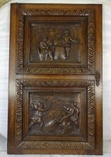 "One of 30"" Tall French Antique Carved Panel Oak Wood Bistro Scene N°1"