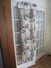 FLORAL WITH WHITE EYELET LACE OVERHANG FABRIC SHOWER CURTAIN #236