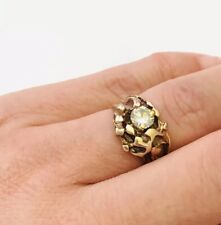 10K Yellow Gold .56TCW Diamond Nugget Ring Size 4.5