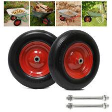 2x Wheelbarrow Solid Rubber with Axle Tyre PU Wheel Spare 4.80/4.00-8 Ø390mm