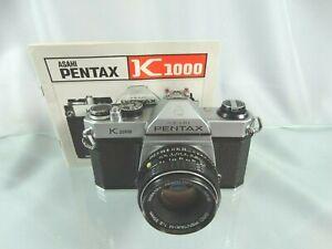 Pentax K1000 35mm SLR Film Camera with 50mm Manual Focus Lens w/Instruction Book
