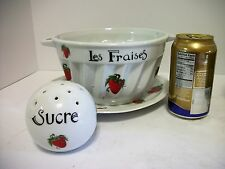 3 Lourioux Strawberry Fraises Dessert Berry Pieces Drain Bowl Underplate Sugar