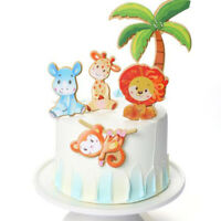 1 Set Lions & Trees Forest Suit Cake Toppers Party Cupcake Flag Cake Decorati *u