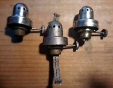 Lot of Three Kerosene Lamp Burner Bases for Model T Era Headlights & Side Lamps.