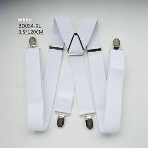 Unisex Large Size 4 Clips Suspenders Adjustable Elastic Braces Adjust Suspender