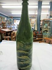 "Painted Wine Bottle. Green Tones 12"" Tall"